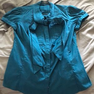 Express dark turquoise button up short sleeve